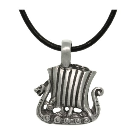 Jewelry Trends Pewter Viking Ship Pendant with 18 Inch Black Leather Cord Necklace ()