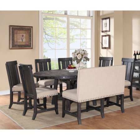Modus Yosemite 8 Piece Oval Dining Table Set with Wood Chairs and Settee