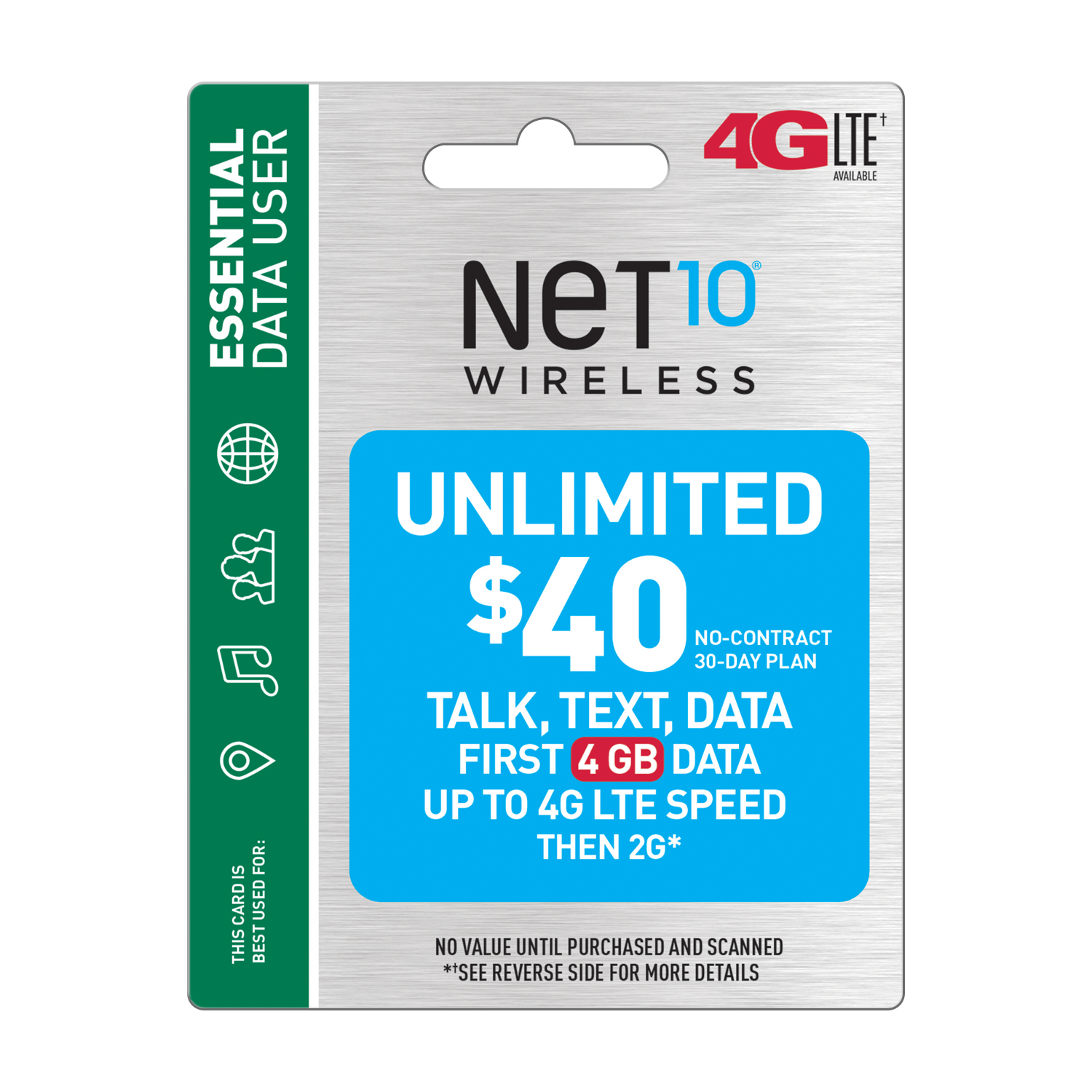 Net10 $40 Unlimited 30 Day Plan (4GB of data at high speed, then 2G*) (Email Delivery)
