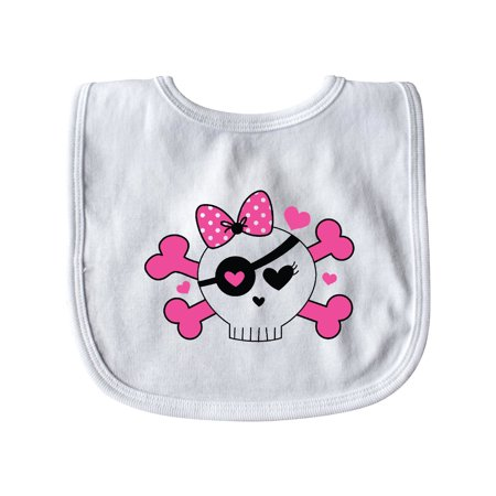 Girl Pirate Skull Valentine Baby Bib White   One Size