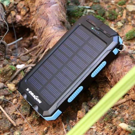 X Dragon 300000Mah Solar Charger Power Bank With Compass Hook Flashlight Portable Charger Backup Power Pack  Dual Usb Port External Battery Charger For Iphone  Samsung  Cellphones Blue