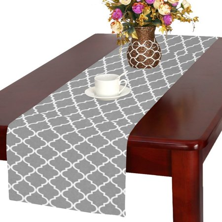 MYPOP Grey Moroccan Funny Table Runner Table Decoration for Wedding Party Dinner Holiday Picnic 16x72 - Grey Table Runner