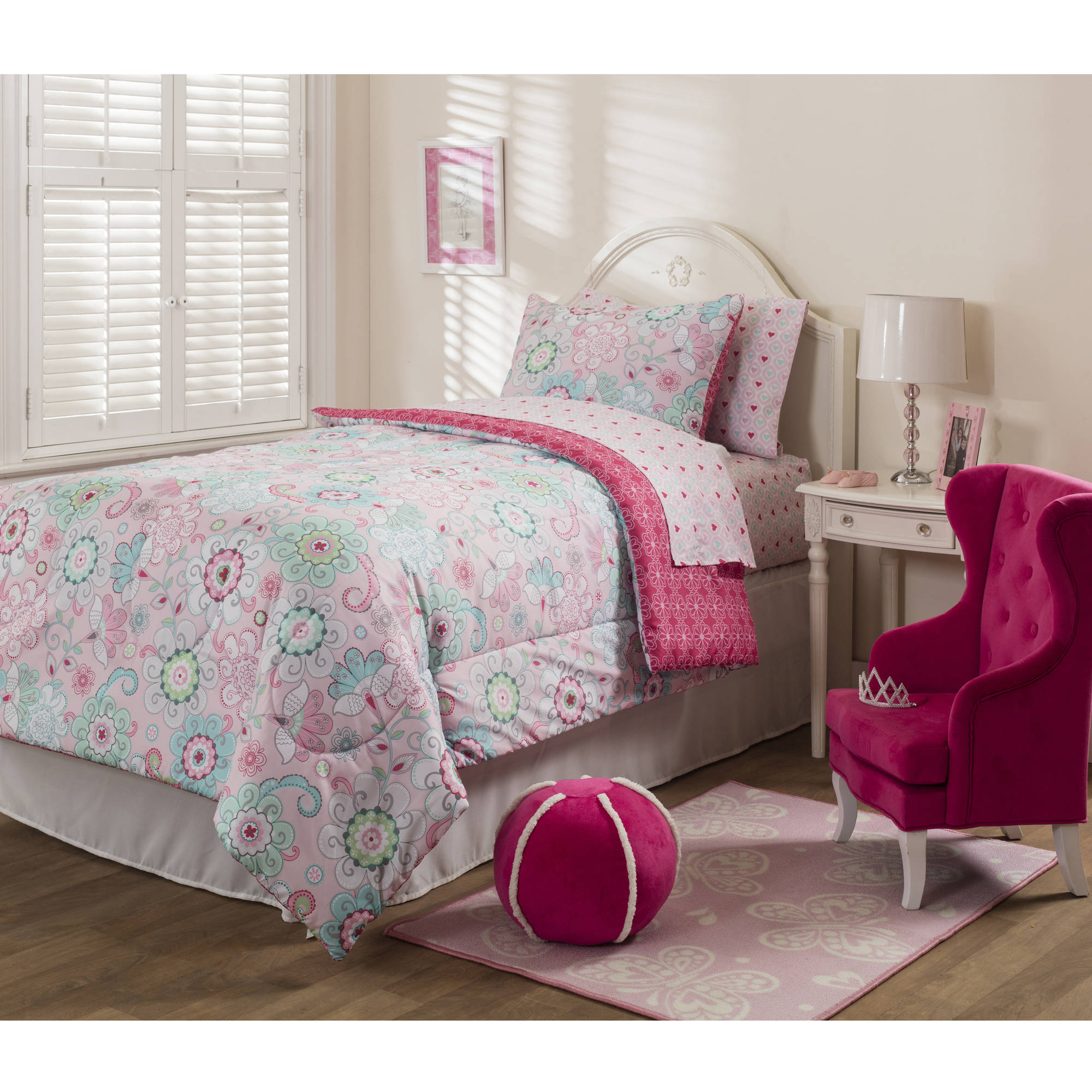 Mainstays Kids Sherbet Pink Bed in a Bag Bedding Set