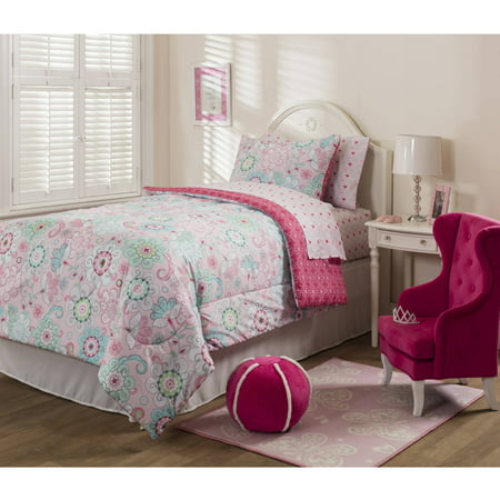 mainstays kids sherbet pink bed in a bag bedding set. Black Bedroom Furniture Sets. Home Design Ideas
