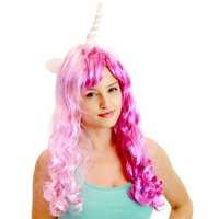 Deluxe Unicorn Costume Wig With Ears Adult: Purple & Pink/Singer One Size