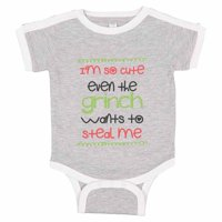 "Adorable Grinch Baseball Bodysuit Raglan ""I'm So Cute Even The Grinch Wants To Steal Me"" Cute Newborn Xmas Shirt Gift - Baby Tee, 12-18 months, Grey & White Short Sleeve"