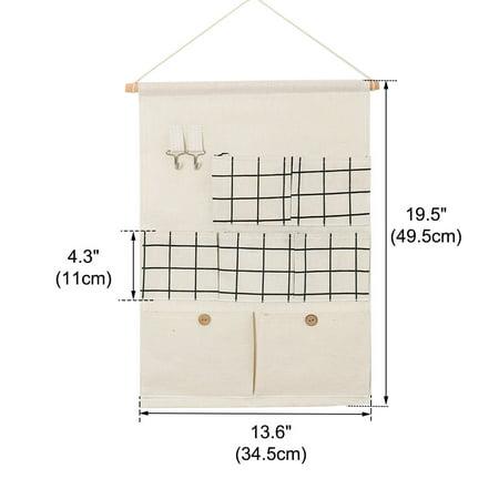 """Penderie Suspendu Pliable Sac Stockage 19.5"""" x 13.6"""" Organisateur Motif carré Blanc - image 6 de 7"""