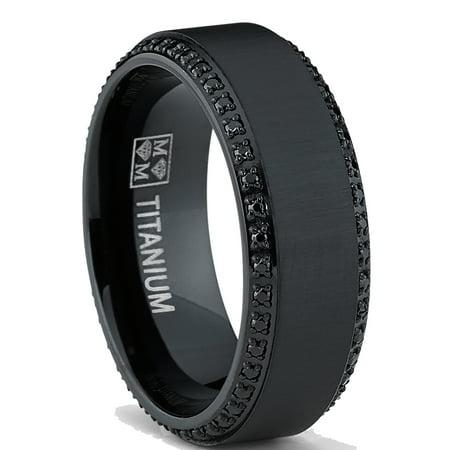 Black Titanium Men's  Brushed Wedding Band Ring W/ Black Cubic Zirconia, Two Row Eternity Ring