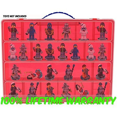 Dimensions Carrying Case - Stores Dozens Of Figures - Durable Toy Storage Organizers By Life Made Better - Red