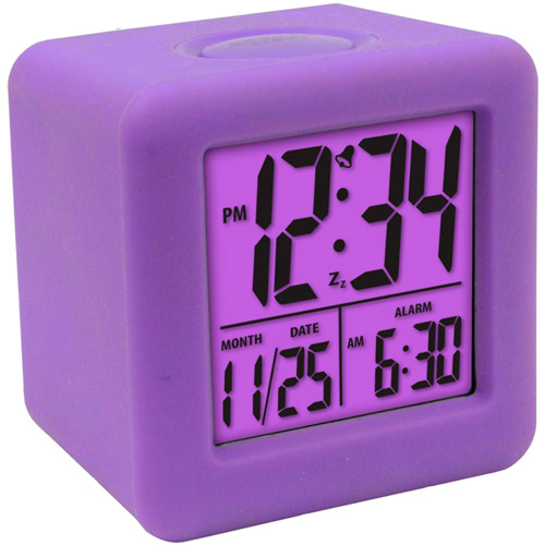 Equity Cube LCD Alarm Clock, Purple