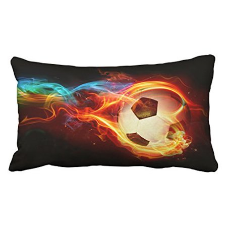 WinHome Decorative Flaming Soccer Pillowcase with Zipper Pillow Protector Pillow Cover Size 20x30 inches Two Side