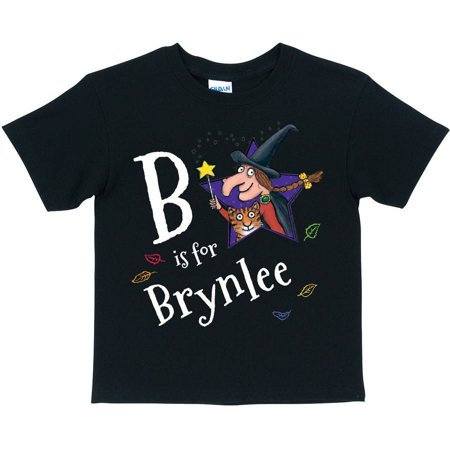 Personalized Room on the Broom Initial Girls' Black T-Shirt (Girl Dancing With Broom)