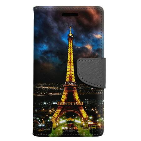 LG Tribute Dynasty Wallet Case - Night Time Paris Eiffel Tower Case