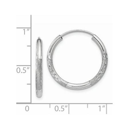 14k White Gold White 2mm Diamond-cut Endless Hoop (2x18mm) Earrings - image 2 of 3