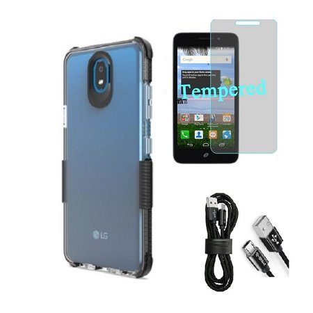 Compatible Case for Straight Talk LG Journey Smartphone / LG Journey /LG Arena 2 / LG K30 (2019) LM-X320 / LG Escape Plus, Clear TPU Case with Shock Edge + Cable (Clear- Black + Tempered