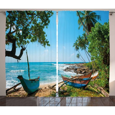 Beach Curtains 2 Panels Set, Tropical Ocean Scenery with Palm Trees and Fishing Boats Caribbean Landscape, Window Drapes for Living Room Bedroom, 108W X 63L Inches, Green and Blue, by Ambesonne - Caribbean Blue Color