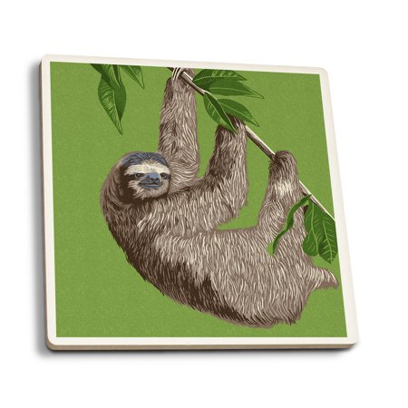 Three Toed Sloth   Letterpress   Lantern Press Artwork  Set Of 4 Ceramic Coasters   Cork Backed  Absorbent