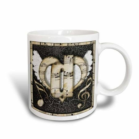 3dRose Song Angel Initial Letter D, Ceramic Mug, 15-ounce
