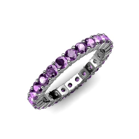 Amethyst Common Prong Eternity Band 2.00 ct tw to 2.40 ct tw in 18K White Gold.size 6.0