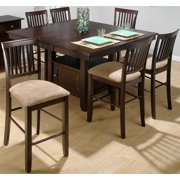 7 Pc Counter Height Storage Dining Set with Padded Stools