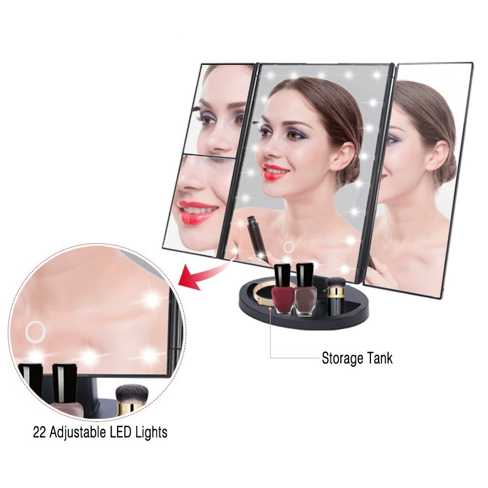 3 Way Led Lighted Makeup Vanity Mirror With 22 Lights180 Degree