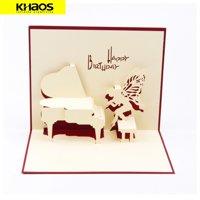 Greeting Card 3D Pop Up Card Christmas Birthday Wedding Graduation Music Piano
