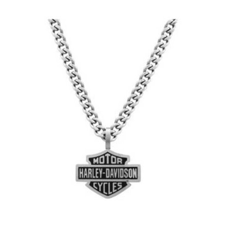 Harley-Davidson Mens Bar & Shield Curve Link Necklace Stainless Steel HSN0021-22, Harley Davidson