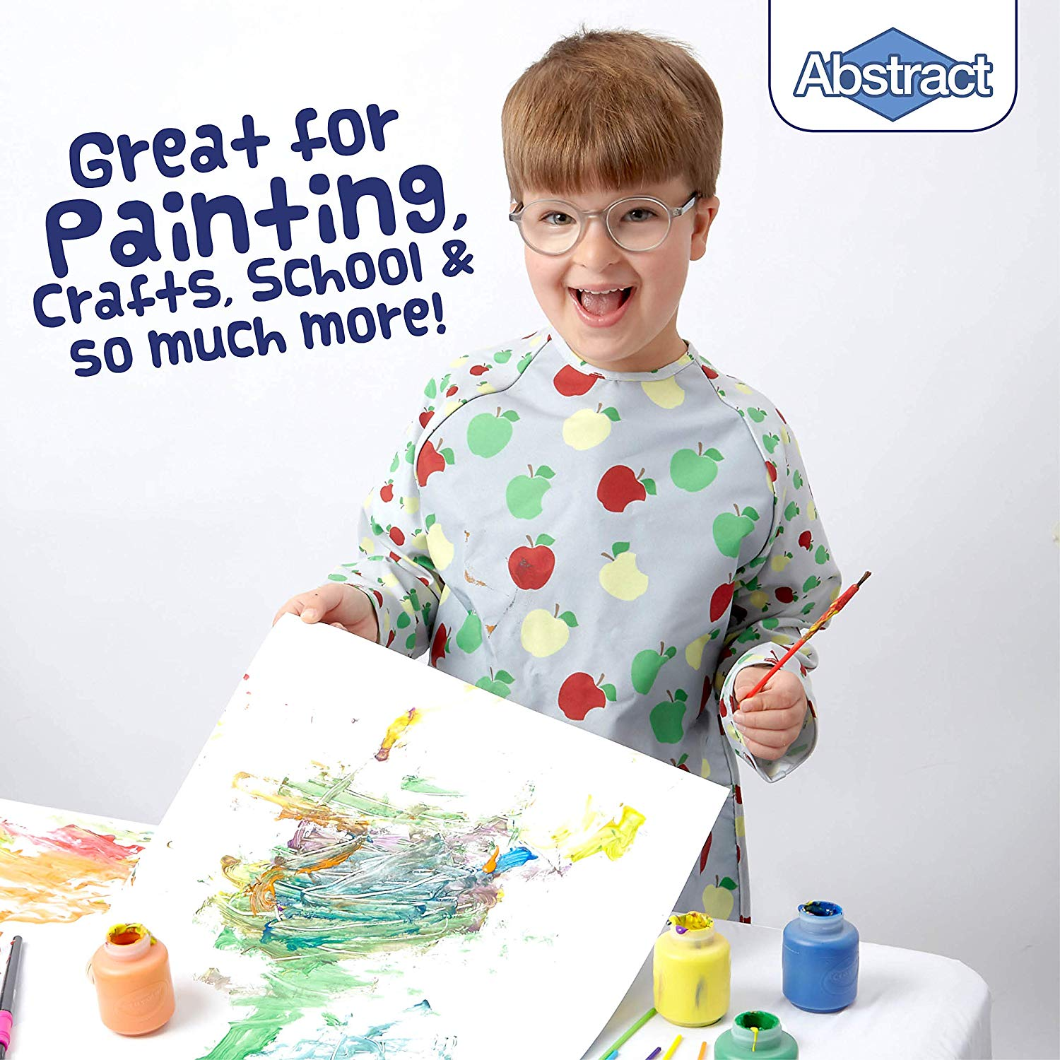 Feeding and More Abstract Kids Art Smock Apron Premium Quality Microfiber with Vinyl Lining Apple Print Long Sleeve Waterproof Bib for Painting Small 2 Pockets