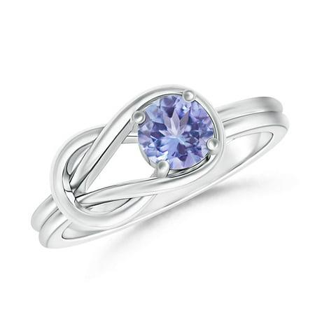 December Birthstone Ring - Solitaire Tanzanite Infinity Knot Ring in Platinum (4mm Tanzanite) - (Oval Tanzanite Platinum Ring)