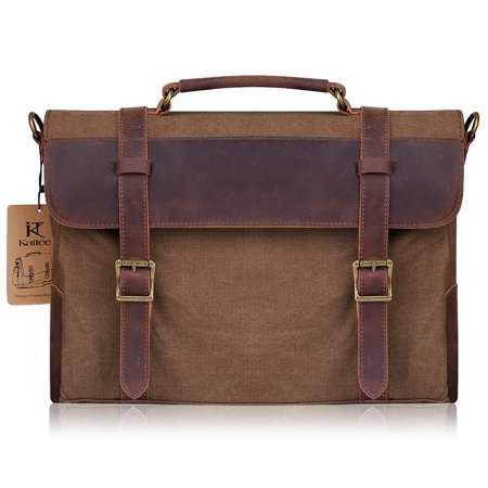 Kattee Canvas Genuine Leather Laptop Messenger Shoulder Bag (Hobo Coffee)