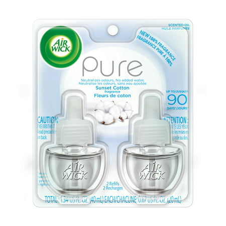 Air Wick Pure Scented Oil 2 Refills, Sunset Cotton, (2X0.67oz), Air Freshener