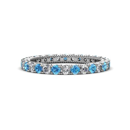 Diamond & Blue Topaz 1.24-1.43 carat tw Women Stackable Eternity Band in 14K Yellow Gold.size 7.5 Blue Diamond Channel Band