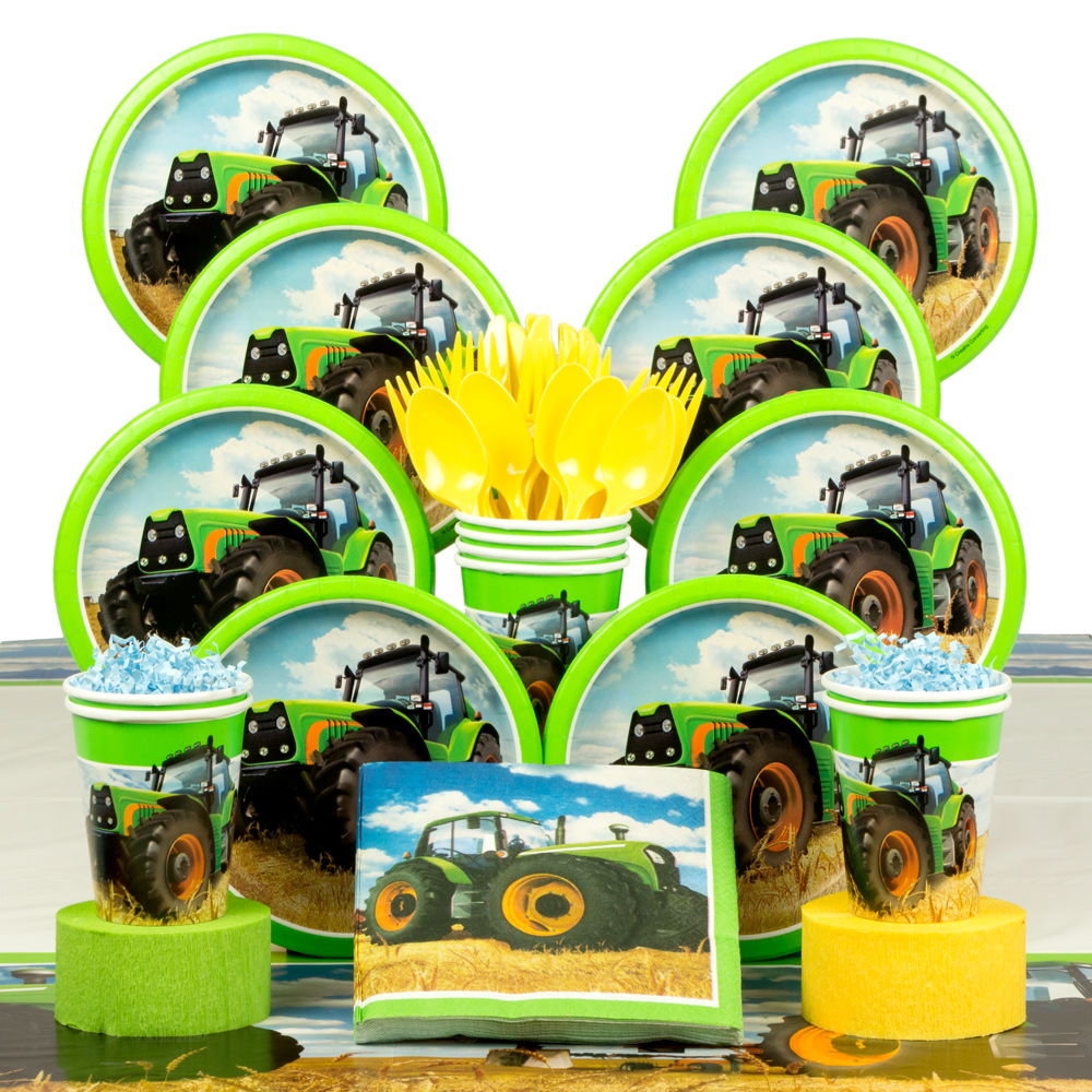 Tractor Time Birthday Deluxe Tableware Kit (Serves 8) - Party Supplies