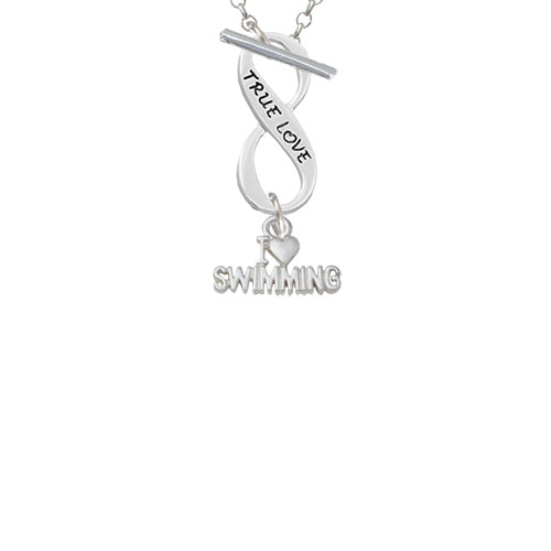 I Heart Swimming True Love Infinity Toggle Chain Necklace by Delight and Co.