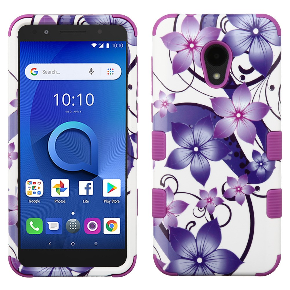 TUFF Hybrid Shockproof Case and Atom Cloth for AT&T Axia - Purple Vines