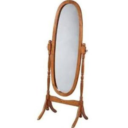 Legacy Decor Swivel Full Length Wood Cheval Floor Mirror  Oak Finish