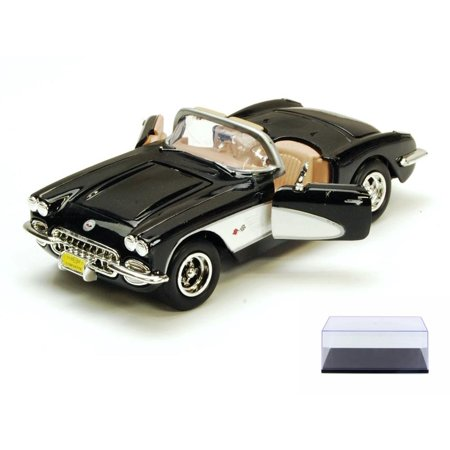 Diecast Car & Display Case Package - 1959 Chevy Corvette Convertible, Black - Motormax 73216 - 1/24 scale Diecast Model Toy Car w/Display (Black Corvette)
