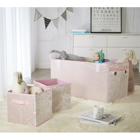 Set Trunk - Urban Shop Crushed Velvet Collapsible Storage Trunk and 2 Cubes Set, Blush