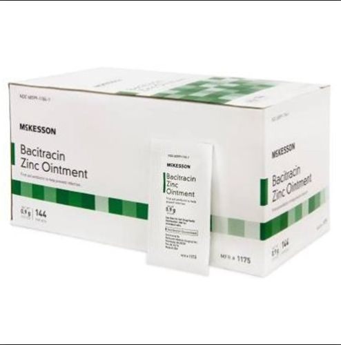 McKesson First Aid Antibiotic 0.9 Gram Ointment, Individual Packets, Box of 144