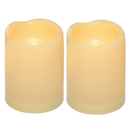 Waterproof Outdoor Flameless Led Candle With Timer Realistic Flickering Battery Operated Ed Electric Electronic Plastic