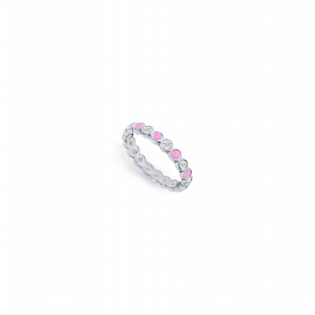 Fine Jewelry Vault UBPTR100DPS210-5-101RS9 Pink Sapphire & Diamond Eternity Band Platinum, 1.00 CT Size 9 by Fine Jewelry Vault