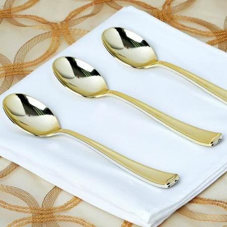 BalsaCircle 25 pcs Gold Plastic Spoons - Wedding Reception Party Buffet Catering Tableware Food Display - Halloween Food Display