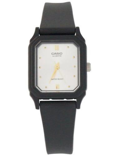 Casio Women's LQ142E-7A Black Resin Quartz Watch with White Dial