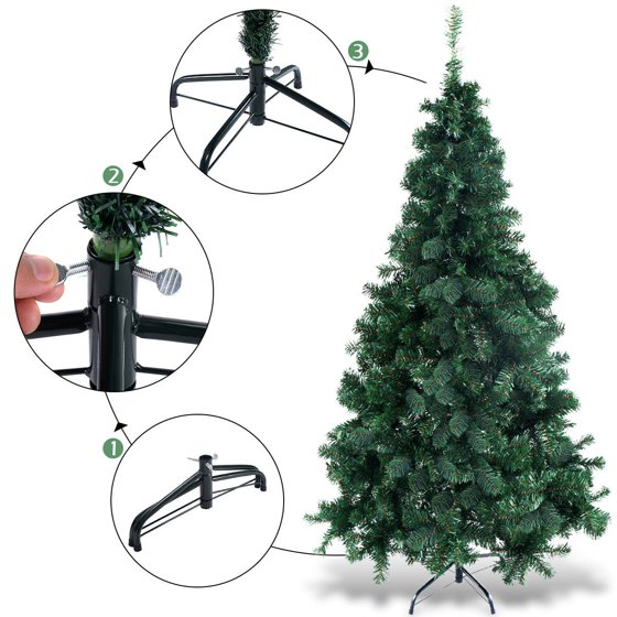 Pvc Christmas Tree Plans.Costway 5ft 6ft 7ft 8ft Artificial Pvc Chrismas Tree W Stand Holiday Season Indoor Outdoor Green
