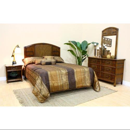 Polynesian 4 PC Twin Bedroom Set in Antique Finish (Queen)