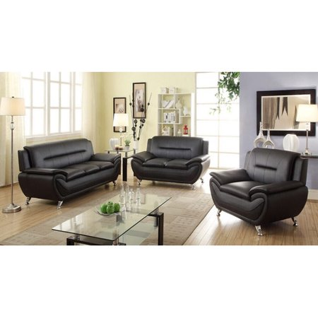 living in style sophia 3 piece modern living room sofa set walmart