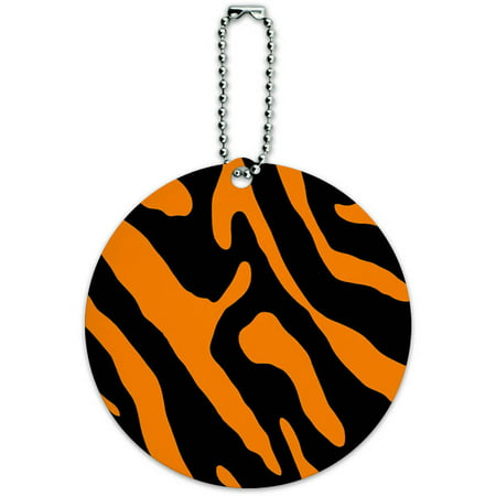 Zebra Print Black Orange Round Luggage ID Tag Card for Suitcase or Carry-On