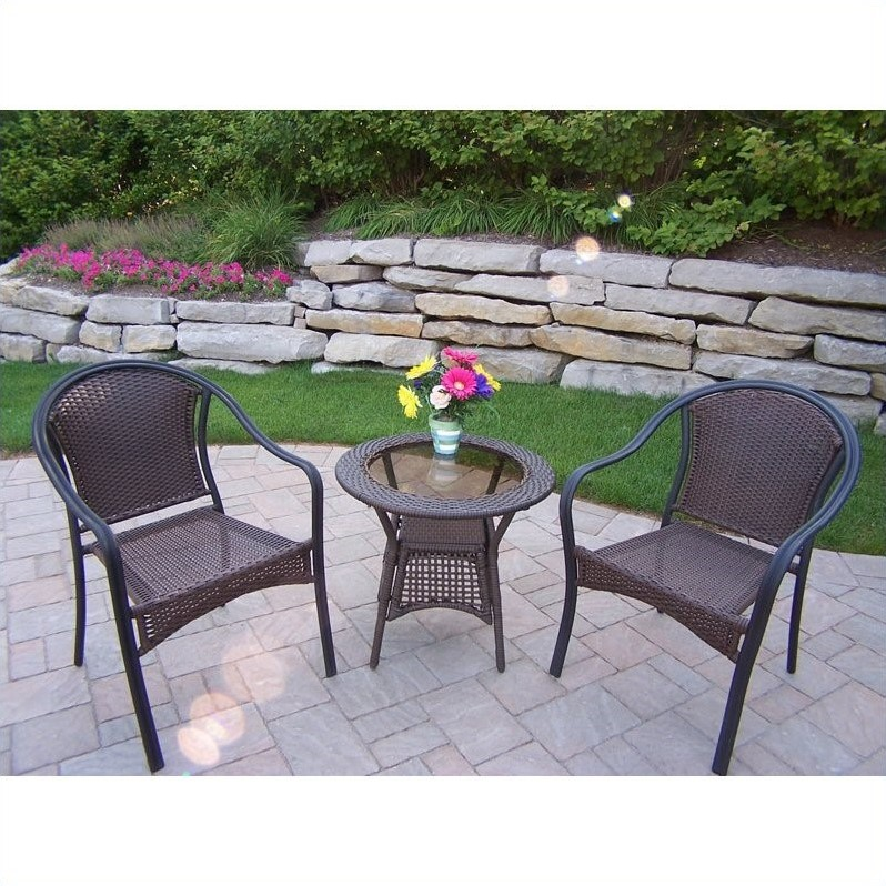 3 Pc Chat Table w Chairs Set in Coffee - Tuscany Resin Wicker