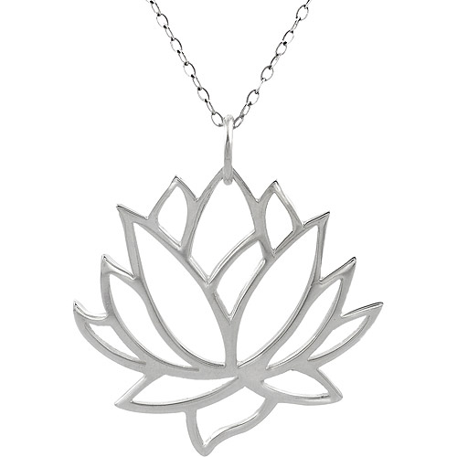 Brinley Co. Sterling Silver Cutout Lotus Flower Pendant, 18""