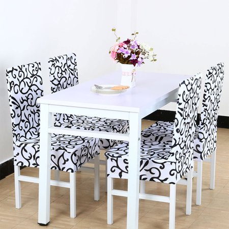 PiccoCasa Stretchy Spandex Dining Chair Covers Slipcover Set of 4 ()